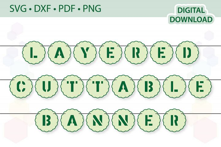 Alphabet Bunting Banner cut files .svg .dxf .pdf .png