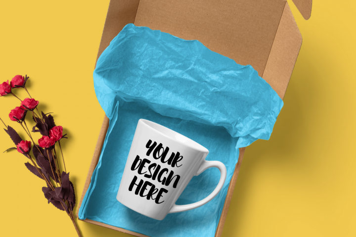 Coffee Mug Mockup In Open Gift Box wi/without Rose Branch