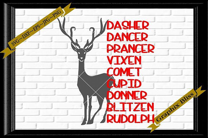 Santas Reindeer Names Rudoloh Christmas SVG EPS Download