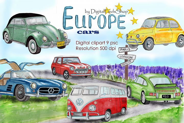 Europe cars clipart, vintage cars clip art, classic cars,