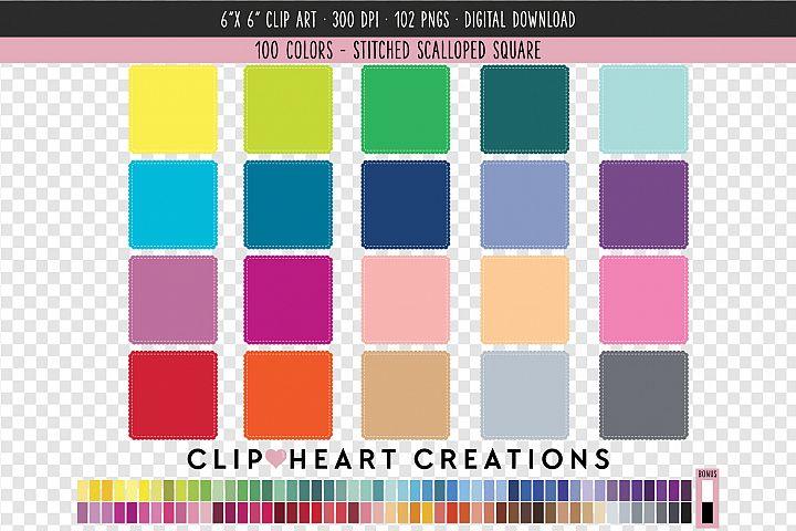 Stitched Scalloped Square Clip Art - 100 Clip Art Graphics
