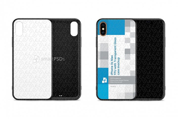 iPhone Xs Max 2d TPU with Glass Back Case Design Mockup