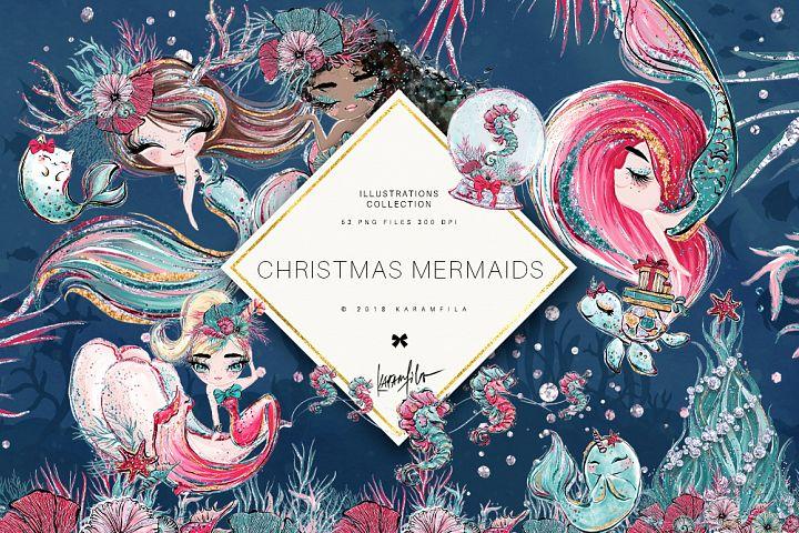 Christmas Mermaid Clipart