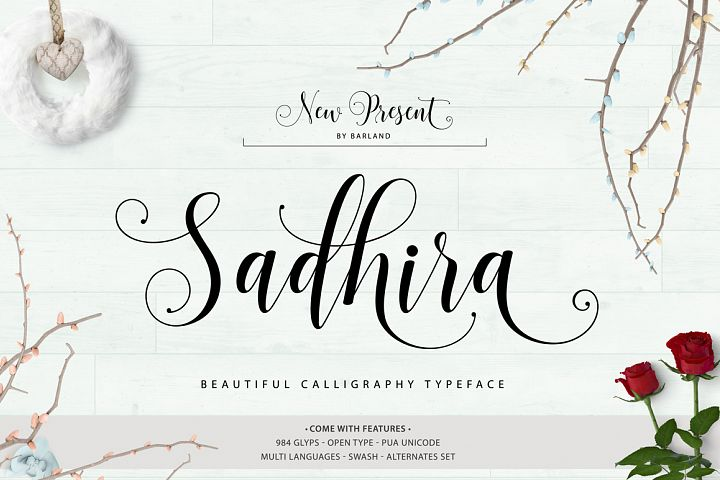 Sadhira Script Calligraphy Typeface - Free Font of The Week