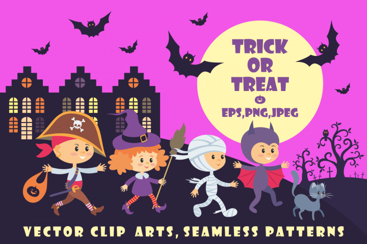Trick or treat. Children in Halloween costumes.