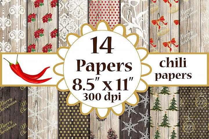 Christmas digital papers Wood Shabby Christmas A4 papers