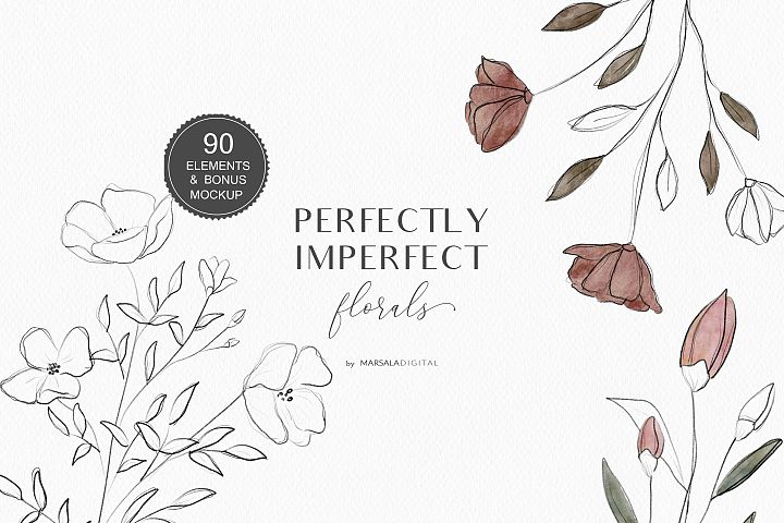 Watercolor & Pencil Sketch Florals, Line Art Vector Flowers