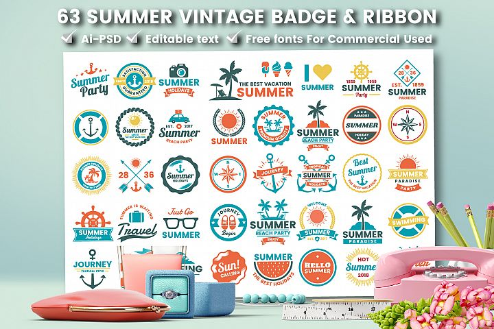 63 SUMMER VINTAGE BADGE & RIBBON