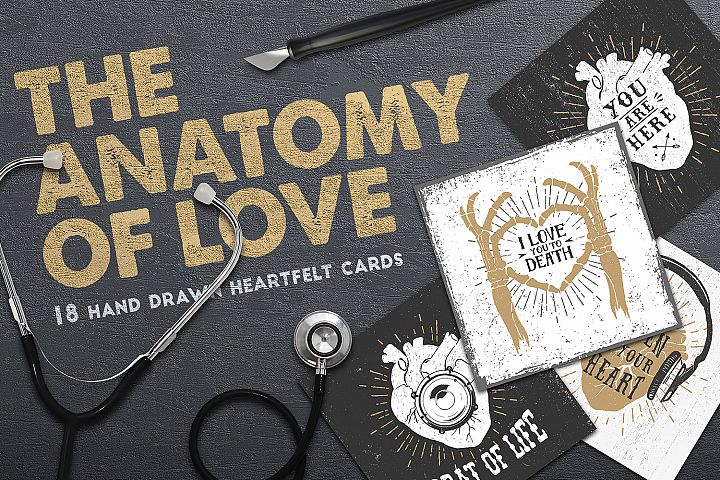 Anatomy of Love (Collection of Cards + Bonus) - Free Design of The Week Font