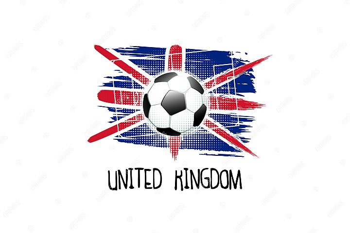 Football background with soccer ball. Team United Kingdom.