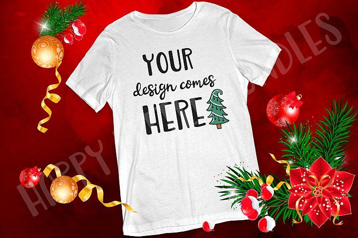 White Tshirt Christmas mockup JPG Ration 3 2