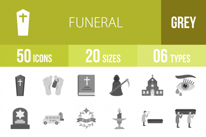 50 Funeral Greyscale Icons