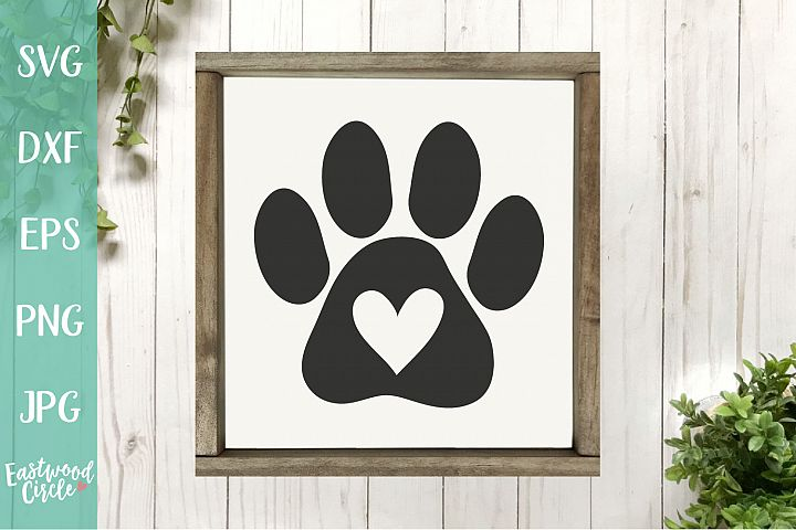 Paw Print with Heart - A Dog SVG File for Crafters