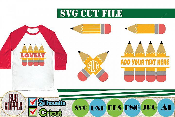 Pencil Monogram SVG Cut File