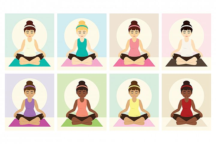 Yoga Girls Clip Art Set