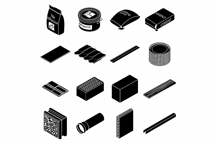Building materials icons set, simple style