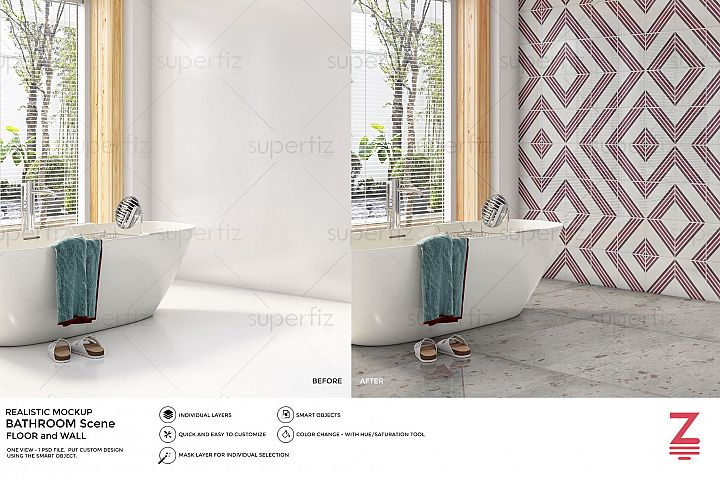 Bathroom PSD Mockup to change the FLOOR and WALL surface SM9