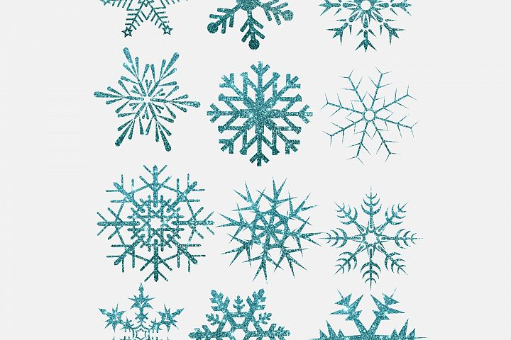 Glitter snow flakes in turquoise colour, Winter clip art