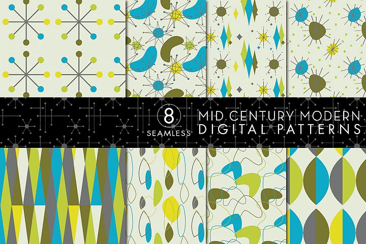 8 Seamless Mid Century Modern Patterns - Set 2