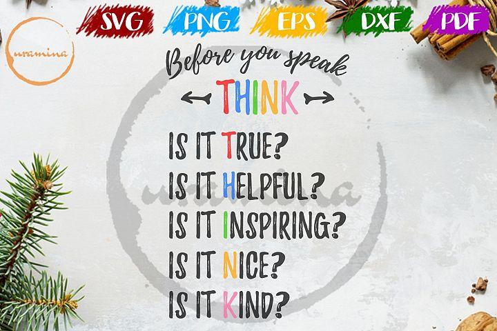 Before You Speak Kids Room SVG PDF PNG
