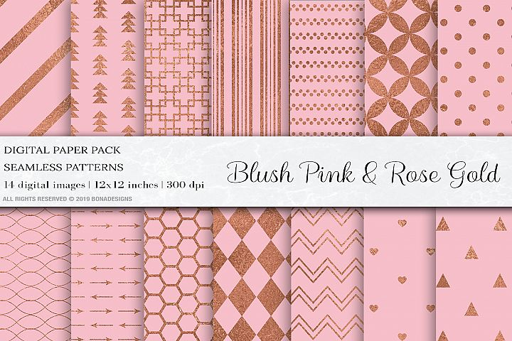 Blush Pink Rose Gold Digital Papers, Rose Gold Patterns