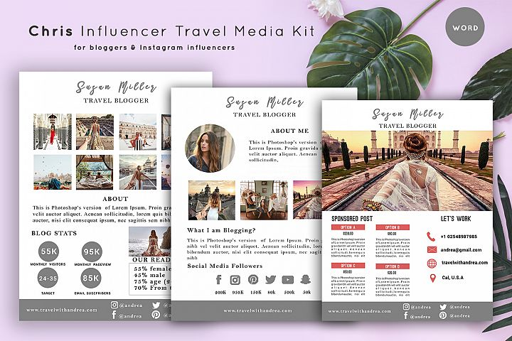 Chris Travel Media Kit Template   3-Pages  Influencer Travel