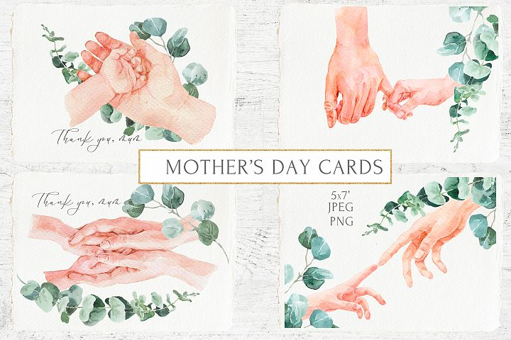 Mothers Day Cards Watercolor Hands and Eucalyptus Greenery