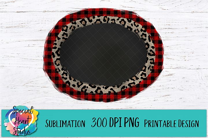 Buffalo Plaid Leopard Frame - Christmas Sublimation