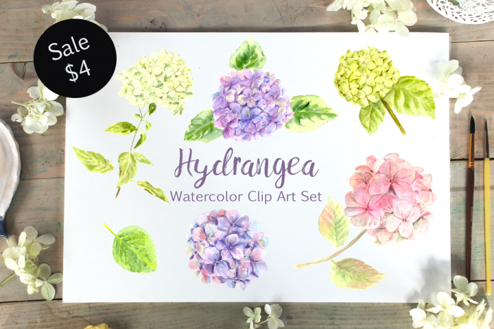 Watercolor Hydrangea Clip Art Set bonus wreath and pattern