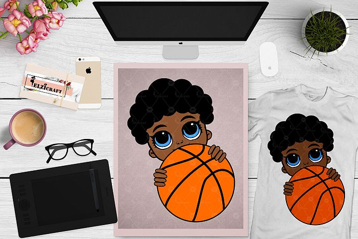 Afro Peeking Baby Boy, Basketball, Sport, Ball SVG Cut File
