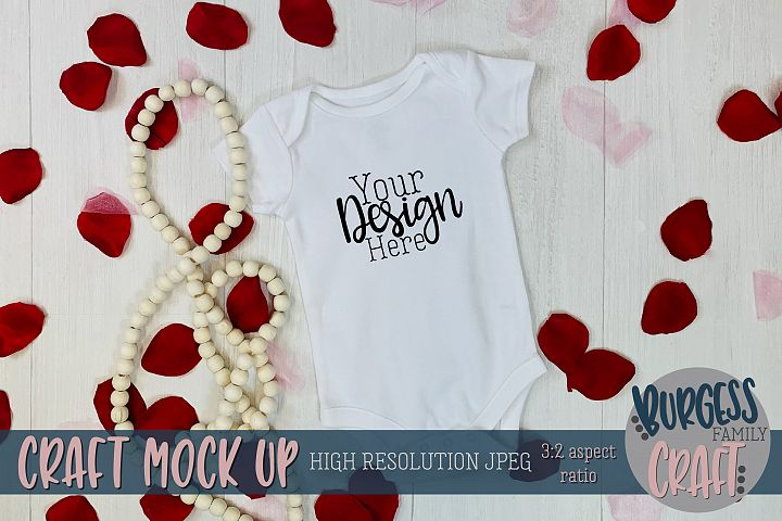 Valentine white baby bodysuit Craft mock up