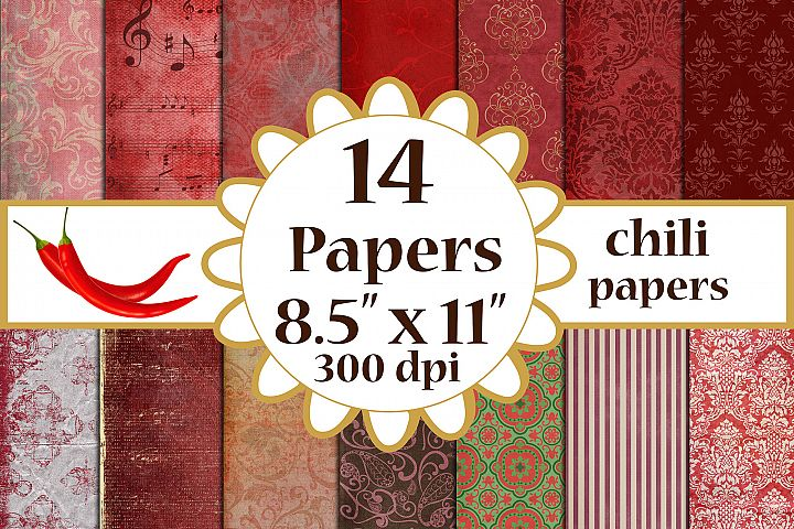 Red Digital Paper, Romantic Backgrounds,Red Damask paper A4