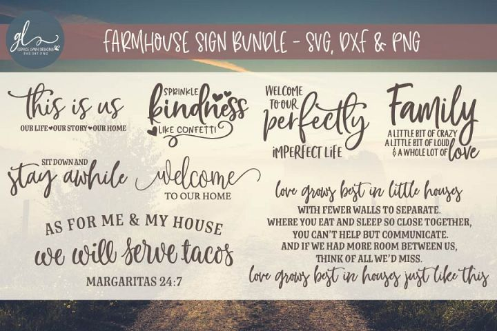 Farmhouse Sign SVG Bundle - SVG, DXF & PNG - 8 Designs