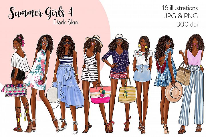 Fashion illustration clipart - Summer Girls 4 - Dark Skin