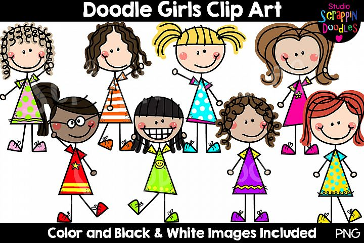 Doodle Girls Clip Art - Cute Stick Figure Kids