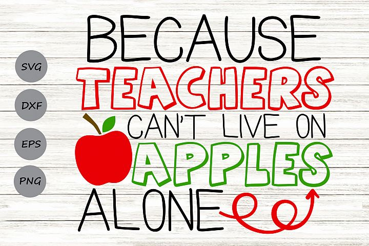 Because Teachers Cant Live on Apples Alone Svg, Teacher Svg