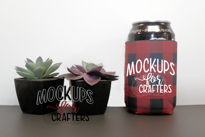 MOCK-UP - bottle/can cover- buffalo plaid