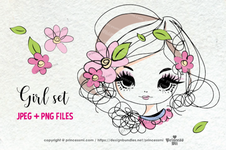 hand drawn pretty girl art set, girl face with flowers