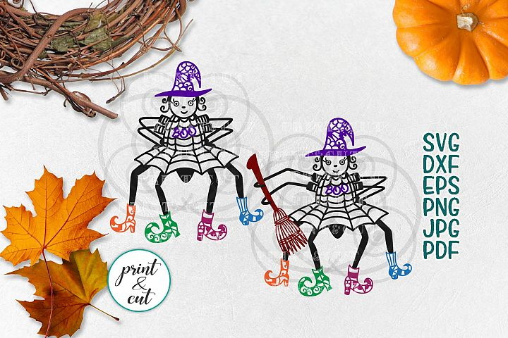 Cute Halloween Boo Spider Witch Hat svg dxf to cut to print