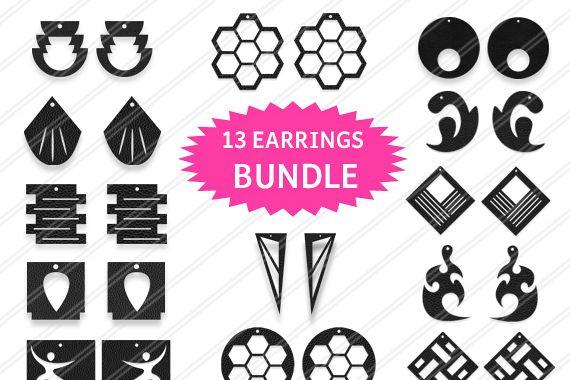 13 Earrings bundle,Earrings svg, Jewelry svg, leather