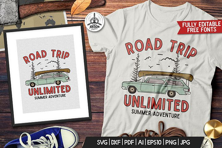 Camp Shirt - Retro Road Trip Print SVG Patch for Crafters Cu