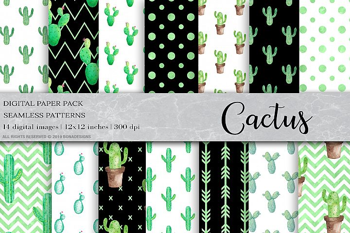 Watercolor Cactus Digital Papers, Cactus Patterns