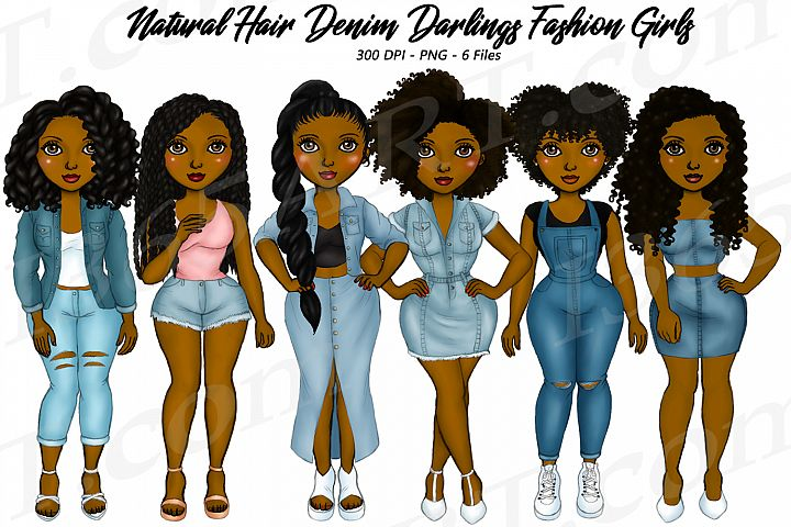 Denim Girls jeans BFF Black Woman Natural Hair Clipart