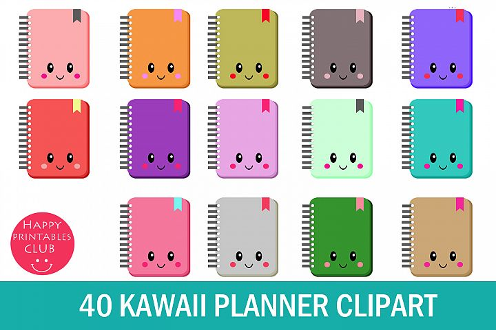 40 Kawaii Planner Clipart- Kawaii Planner Accessories