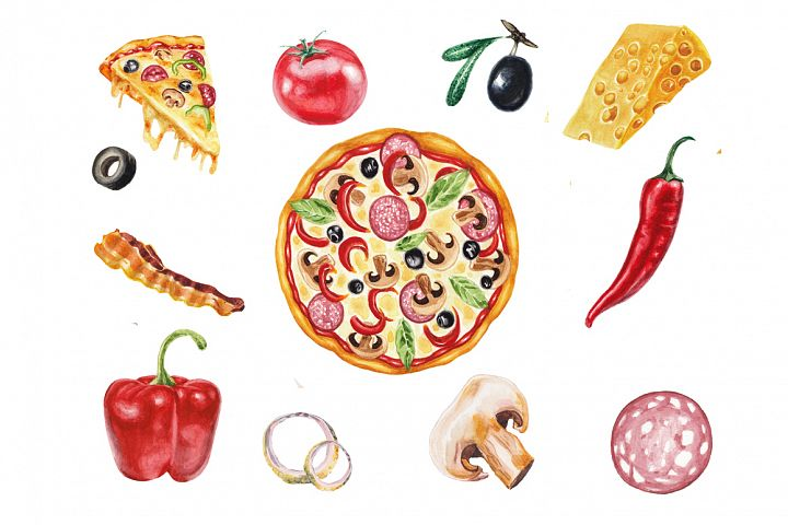 Watercolor pizza collection