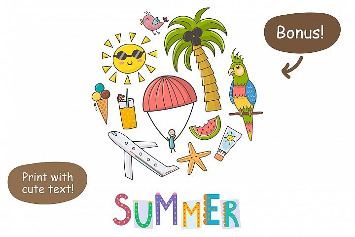 Summer Time: pattern & clipart - Free Design of The Week Design 6