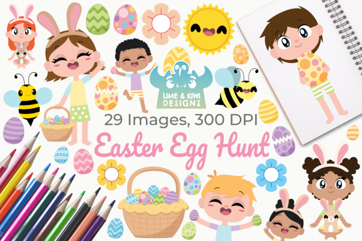 Easter Egg Hunt Clipart, Instant Download Vector Art
