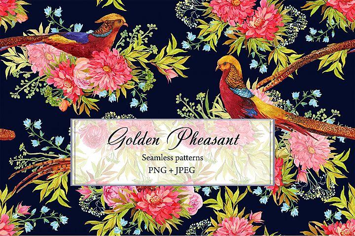 Pheasants Flowers Seamless Pattern