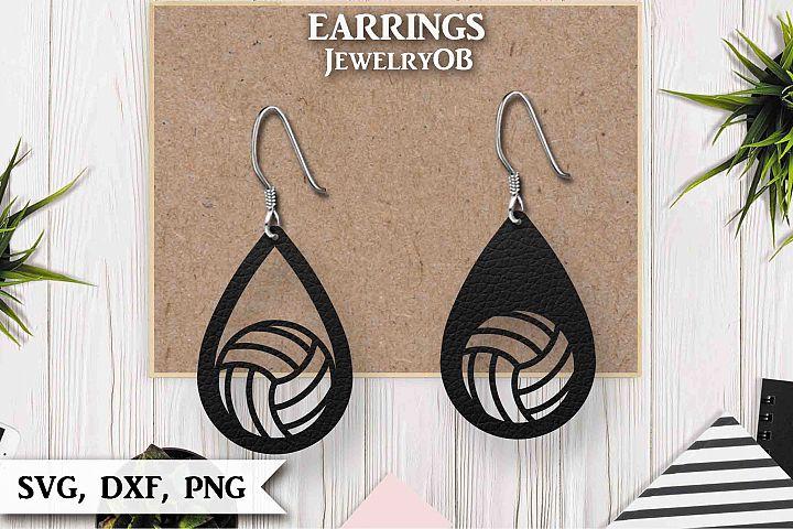 Volleyball Earrings, Cut File, SVG DXF PNG, Teardrop