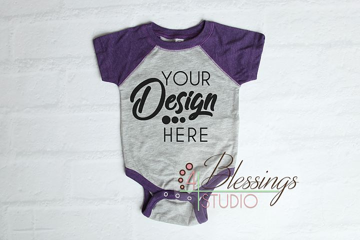 Raglan Bodysuit Mockup Blank Purple Gray Baby Rabbit Skins